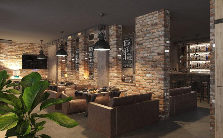 Красивый бар в стиле лофт